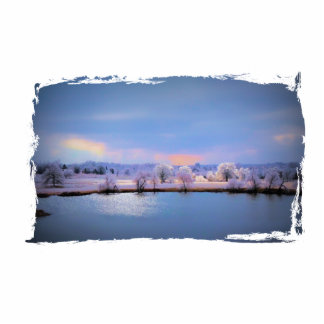 Icy Pond and Willows in Pastel Photo Sculptures