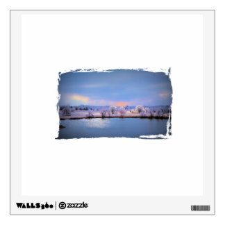 Icy Pond and Willows in Pastel Wall Decal