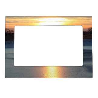 Icy Pond Sunset Magnetic Photo Frame