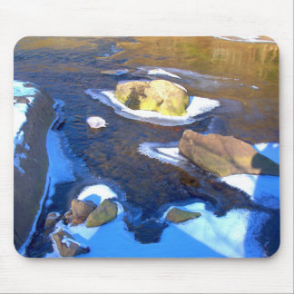 Icy Rocky River Mouse Pad