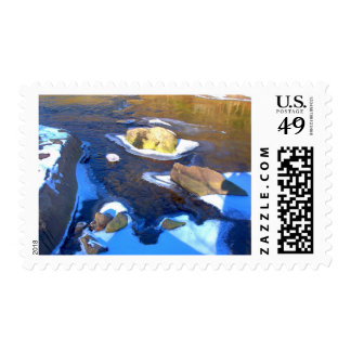Icy Rocky River Postage