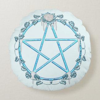 Icy Rose Pagan Pentagram Pentacle Round Pillow