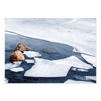Icy shore in winter personalized announcement