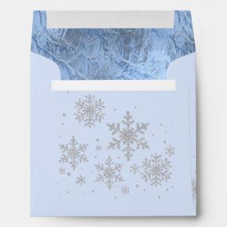 Icy Snowflakes Winter Custom Wedding Envelope
