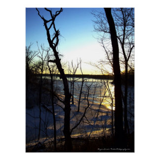 Icy Sunset - Frozen Lake Photograph Canvas Print