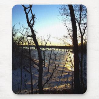 Icy Sunset - Frozen Lake Photograph Custom Mousepa Mouse Pad