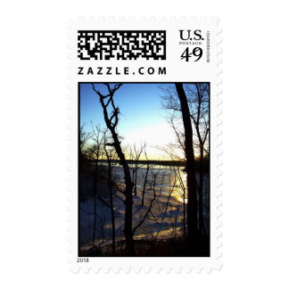 Icy Sunset - Frozen Lake Photograph Custom Postage