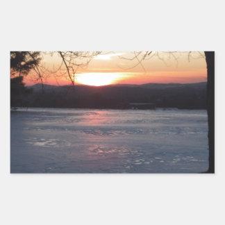 Icy Sunset Rectangular Sticker