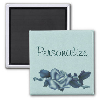 Icy Teal & Blue Winter Rose 2 Inch Square Magnet