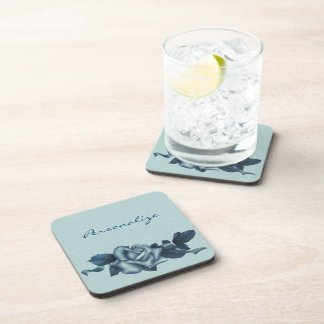Icy Teal & Blue Winter Rose Drink Coaster