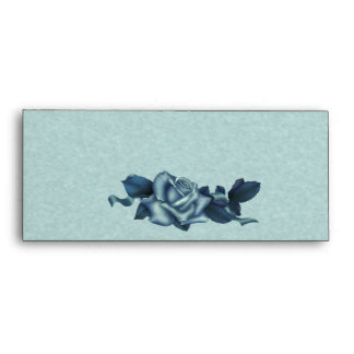 Icy Teal & Blue Winter Rose Envelope