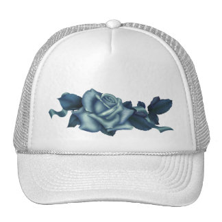 Icy Teal & Blue Winter Rose Trucker Hat