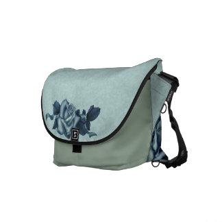 Icy Teal & Blue Winter Rose Messenger Bag