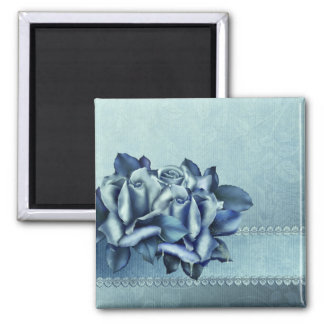 Icy Teal & Blue Winter Roses 2 Inch Square Magnet