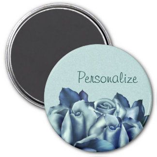 Icy Teal & Blue Winter Roses 3 Inch Round Magnet