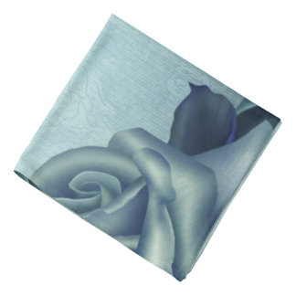 Icy Teal & Blue Winter Roses Bandanna