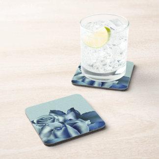 Icy Teal & Blue Winter Roses Beverage Coaster
