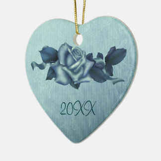 Icy Teal & Blue Winter Roses Christmas Ornament