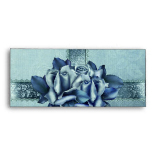 Icy Teal & Blue Winter Roses Envelope