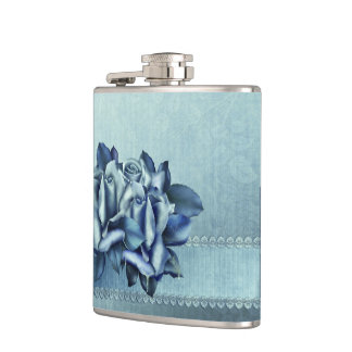 Icy Teal & Blue Winter Roses Flask