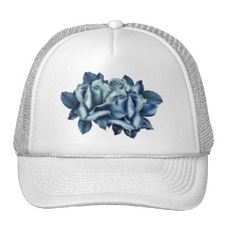 Icy Teal & Blue Winter Roses Trucker Hat