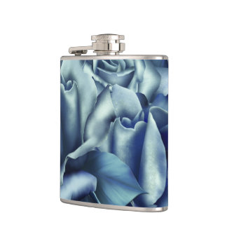Icy Teal & Blue Winter Roses Hip Flask