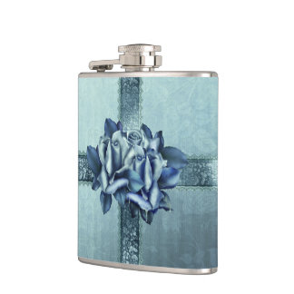 Icy Teal & Blue Winter Roses Hip Flasks