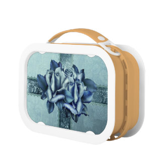 Icy Teal & Blue Winter Roses Lunch Boxes