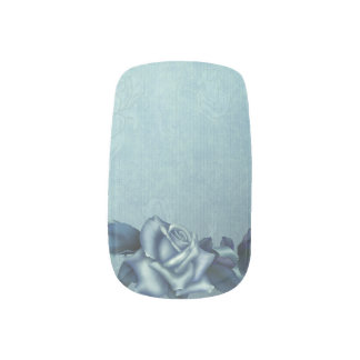 Icy Teal & Blue Winter Roses Minx ® Nail Wraps