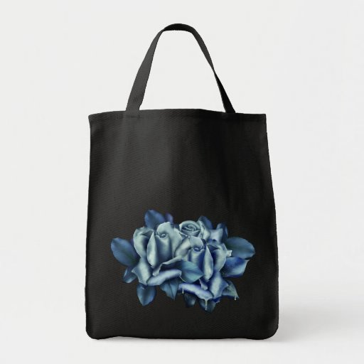 Icy Teal & Blue Winter Roses Tote Bag