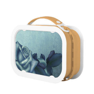 Icy Teal & Blue Winter Roses Yubo Lunch Box