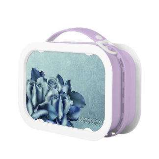 Icy Teal & Blue Winter Roses Yubo Lunchbox