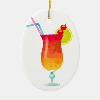 Icy Tropical Rum Punch Ceramic Ornament