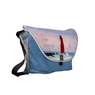 Icy Waters Lighthouse Messenger Bag
