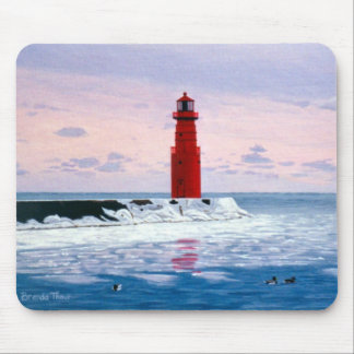 Icy Waters Lighthouse Mousepad