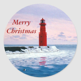 Icy Waters Merry Christmas Sticker