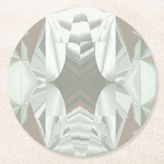 Icy White on Pink Abstract Round Paper Coaster