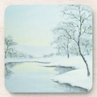 Icy Winter Landscape Plastic Coaster