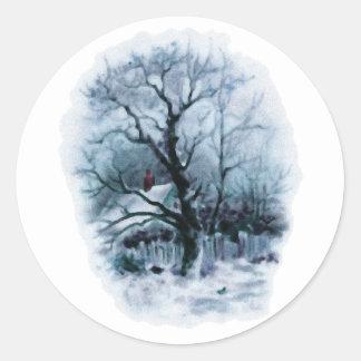 Icy Winter Scene Classic Round Sticker