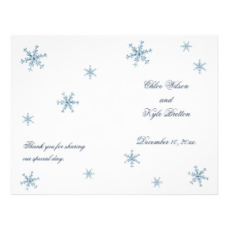 Icy Winter Snowflake Wedding Program