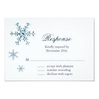 Icy Winter Snowflake Wedding RSVP 3.5x5 Paper Invitation Card