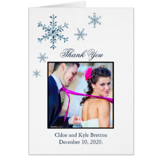 Icy Winter Snowflake Wedding Thank You Card