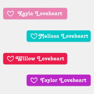 ID girls name red pink purple aqua open heart Kids' Labels