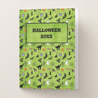 ID:  Halloween Green Collage Pattern - Personalize Pocket Folder