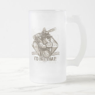 I'd Hit That Baseball by Mudge Studios Frosted Glass Beer Mug