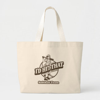 I'd Hit That Softball Team Large Tote Bag