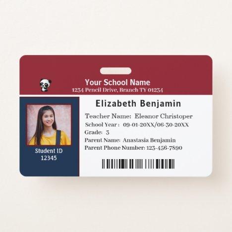 ID Identification Card Bar Code Student School Badge