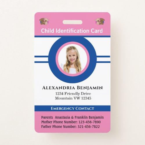 Id Identification Card Boy Girl Child Photo Custom Badge