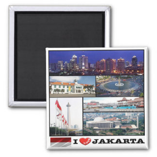 ID - Indonesia - Jakarta - I Love - Collage Mosaic Magnet