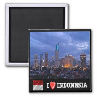 ID - Indonesia - Jakarta Skyline I Love - Collage Magnet
